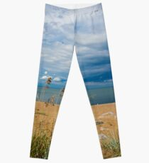 Stormy Beach, Calm after the storm, Beach house decor Leggings