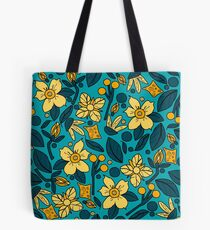Floral Delights Bright Teal Tote Bag