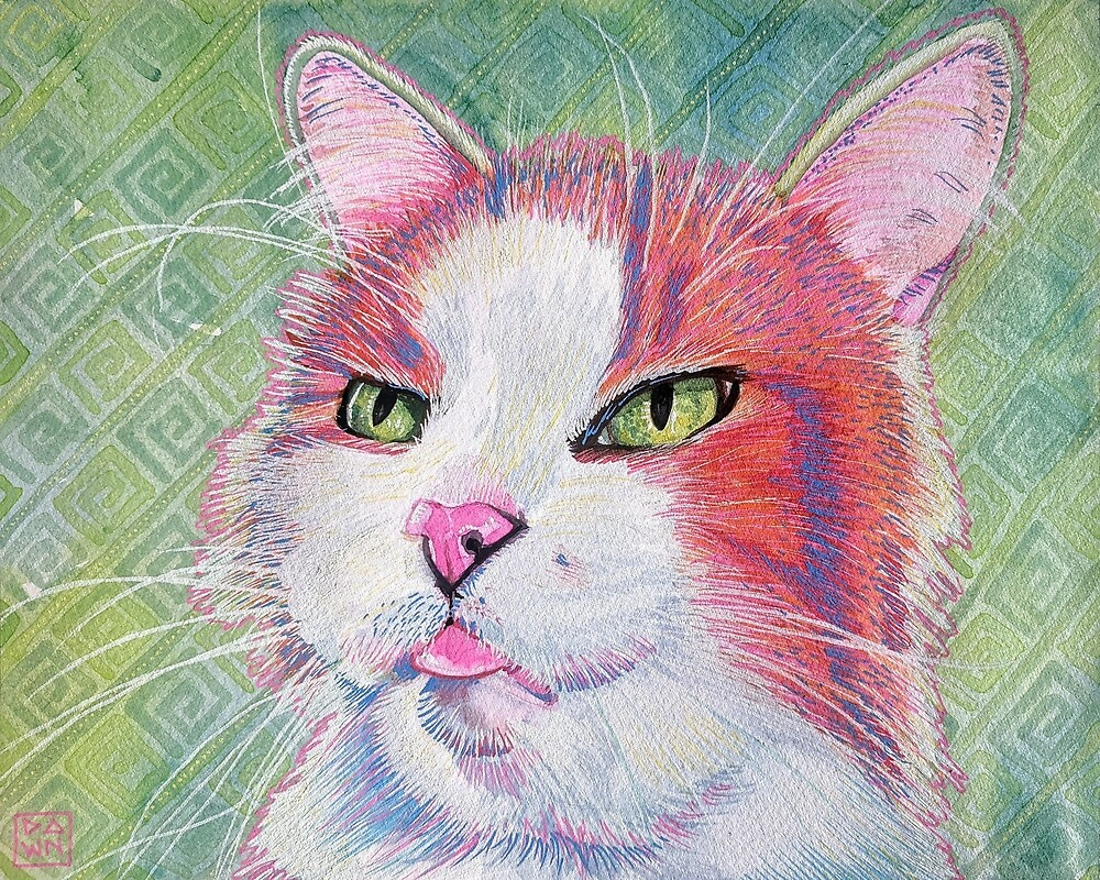 Colorful pink and orange tabby cat painting in an energetic pop art style by Dawn Pedersen