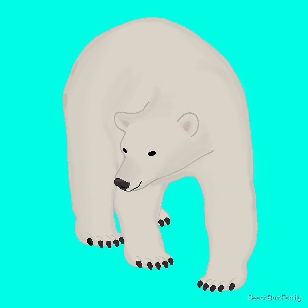 Polar Bear on Bright Turquoise by BeachBumFamily