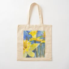 Daffodils with Blue Background Cotton Tote Bag