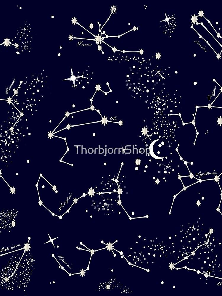 Zodiac Constellations in Night Sky Navy by ThorbjornShop
