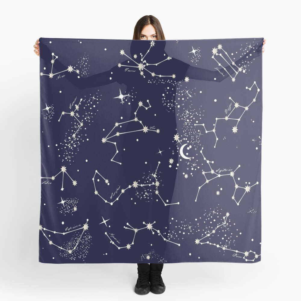 Zodiac Constellations in Night Sky Navy Scarf