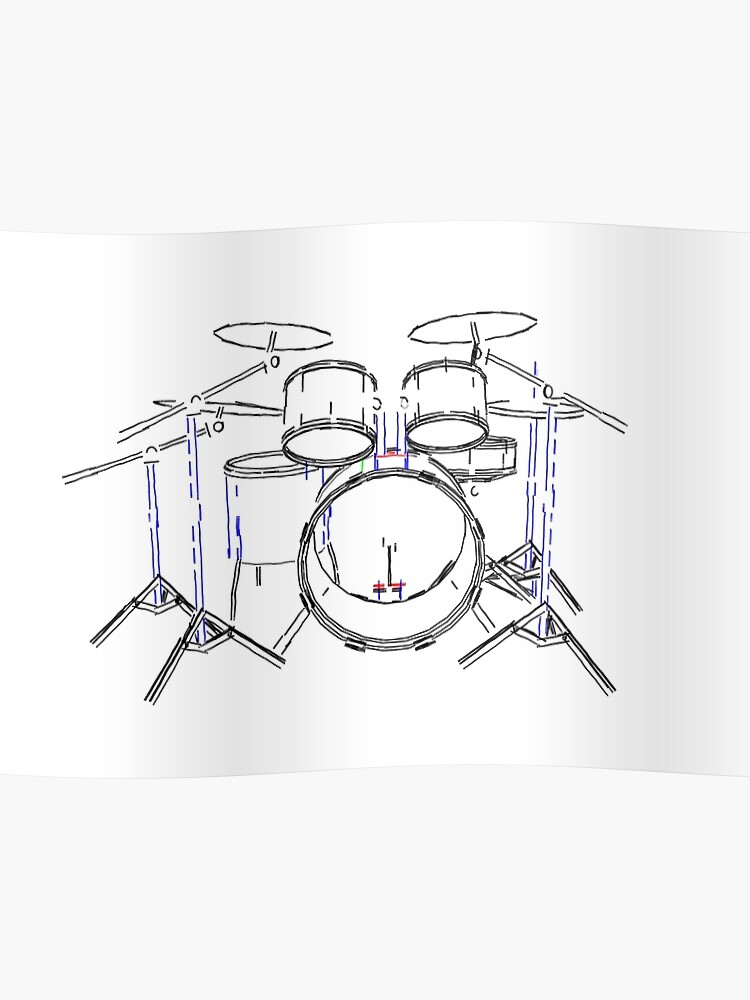 drum kit: marker drawing poster