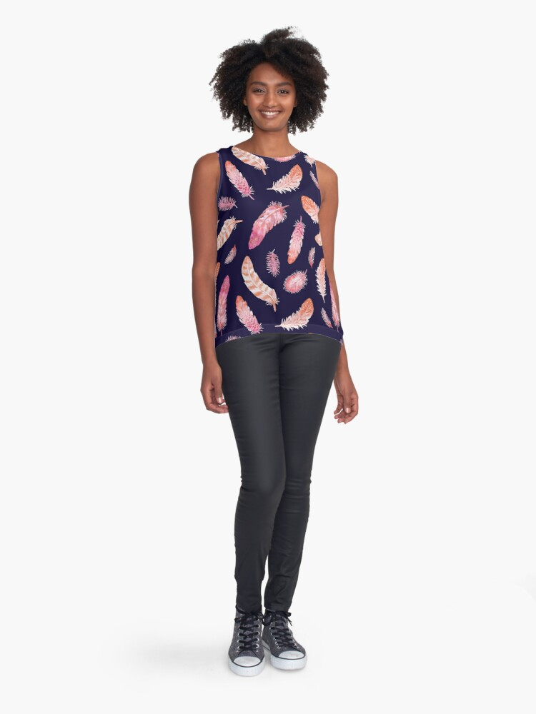 Alternate view of Watercolor Feathers dark Sleeveless Top