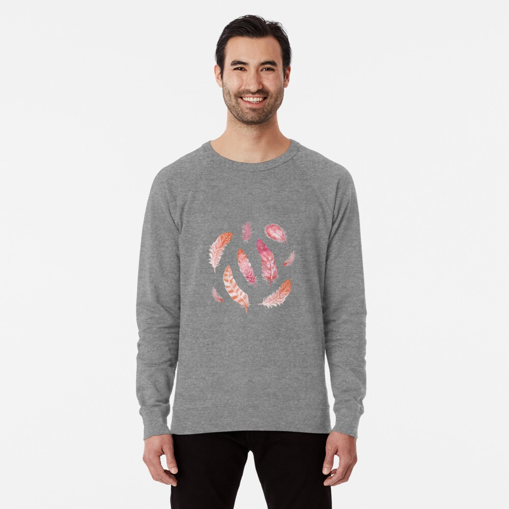 Watercolor Feathers dark Lightweight Sweatshirt