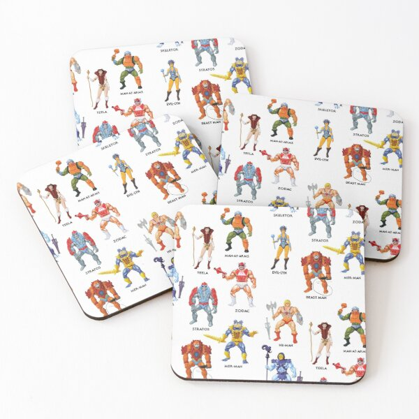 Vintage Masters of the Universe Heroes & Villains! Vintage Toy Card Art Coasters (Set of 4)
