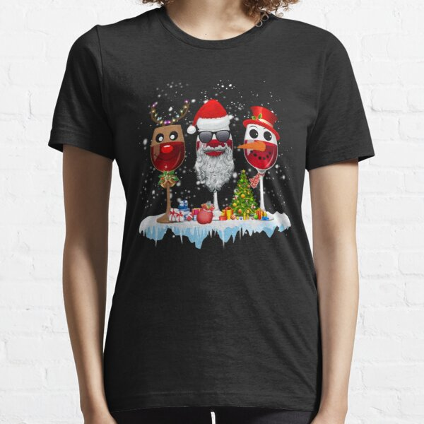 Three Glass of Red Wine Santa Hat Christmas For Men Women Essential T-Shirt
