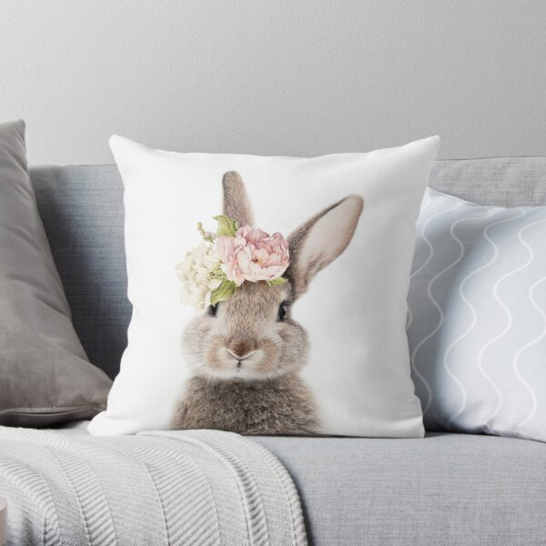 Peek-a-boo Floral Bunny Throw Pillow