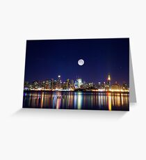 NYC skyline at night from New Jersey Greeting Card
