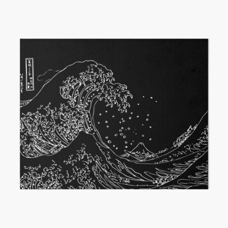 Great Wave Outline Black and White Art Board Print