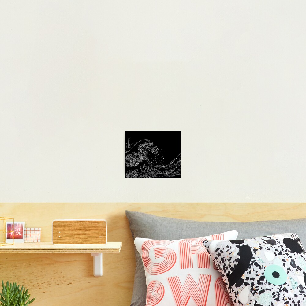 Great Wave Outline Black and White Photographic Print