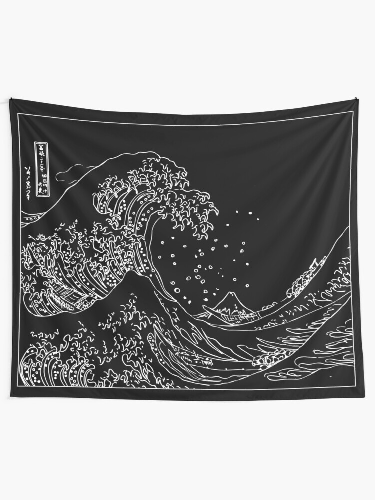 Alternate view of Great Wave Outline Black and White Tapestry