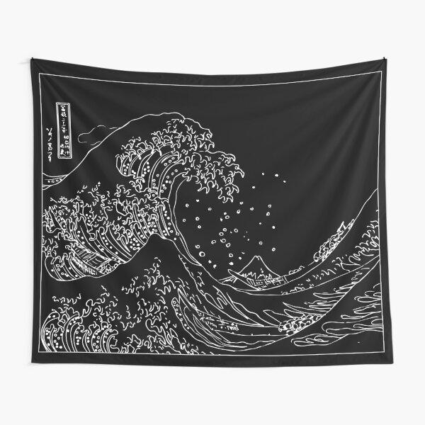 Great Wave Outline noir et blanc Tentures