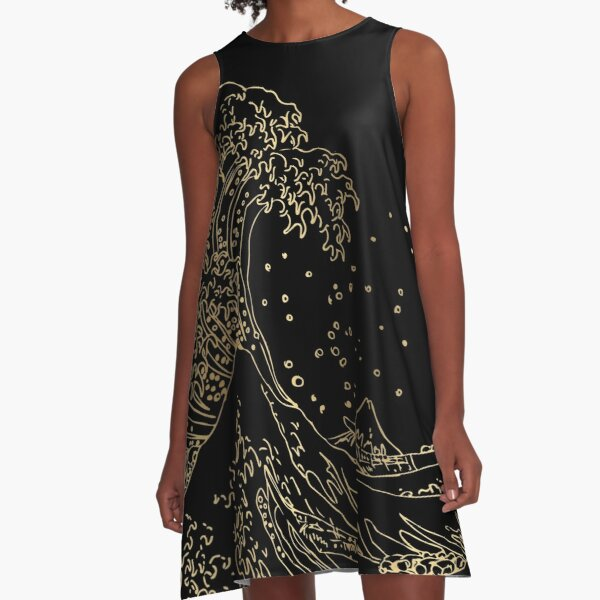 Great Wave Gold A-Line Dress