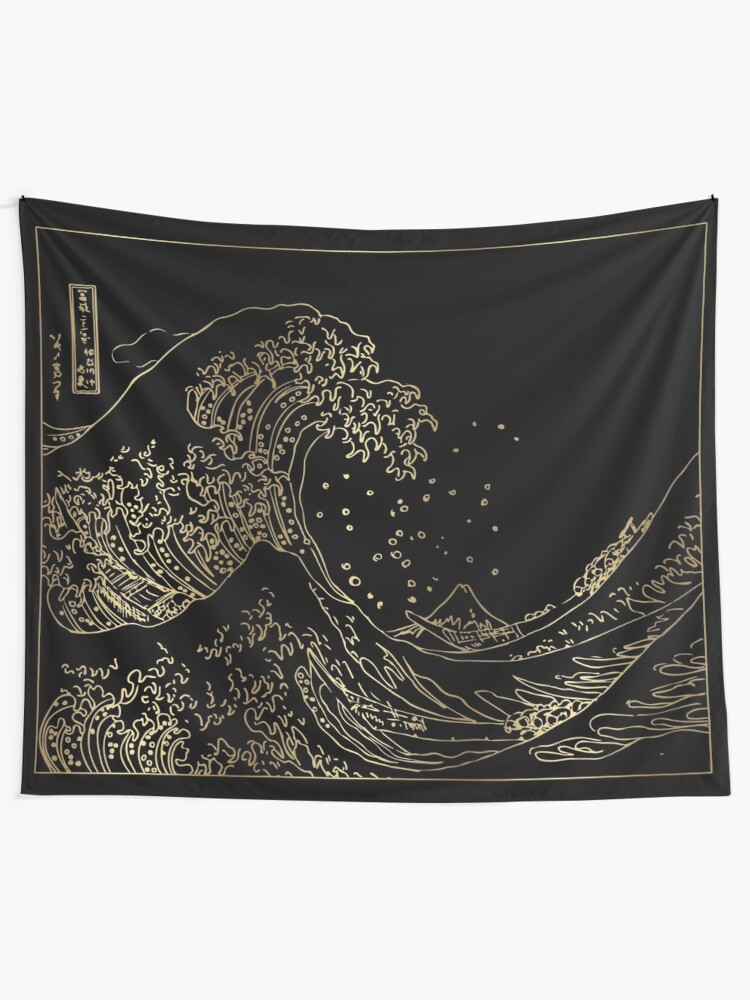 Alternate view of Great Wave Gold Tapestry