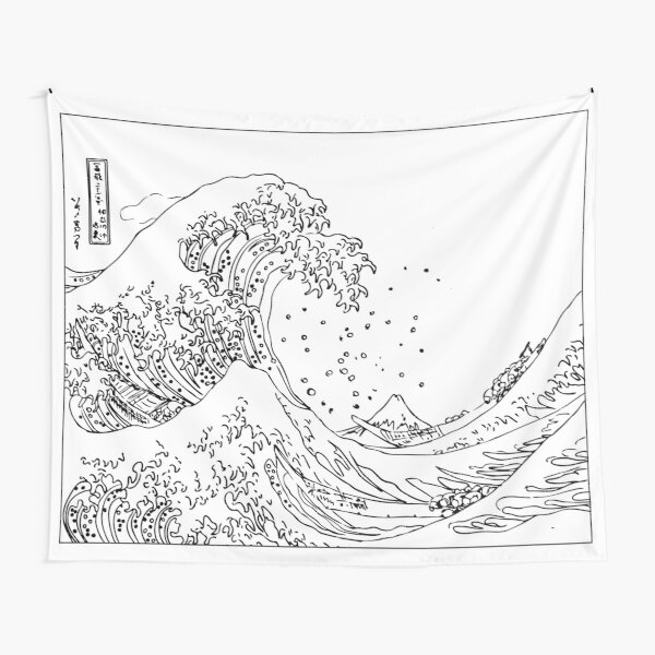 Great Wave Outline Black and White Tapestry
