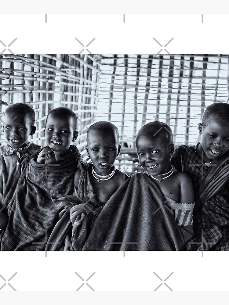 Africa Adventures 4239BW Portrait of Young Maasai Children by neptuneimages