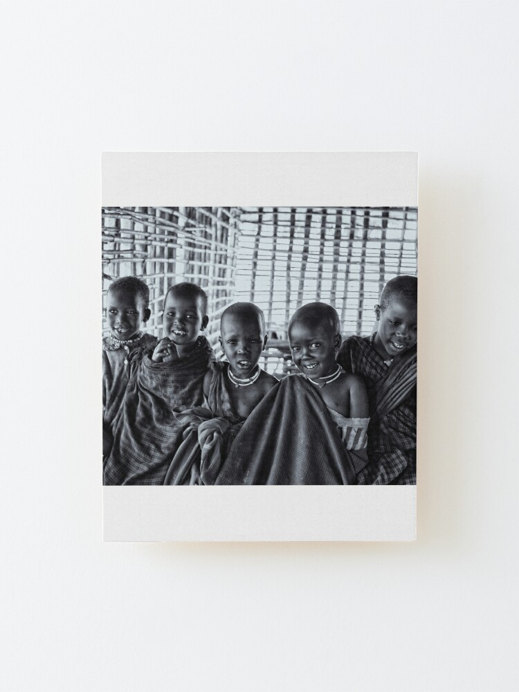 Alternate view of Africa Adventures 4239BW Portrait of Young Maasai Children Mounted Print