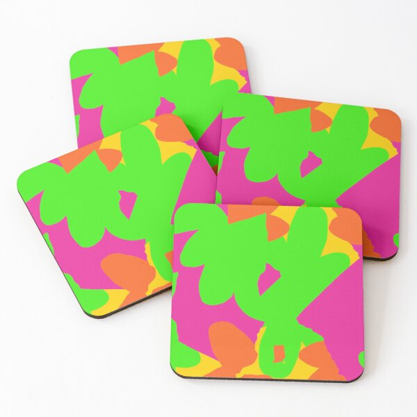 Sprouse inspired day glow print Coasters (Set of 4)