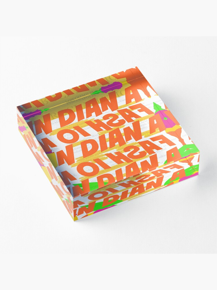 Alternate view of Stephen Sprouse inspired-Letter Print-Words-Day Glow Acrylic Block