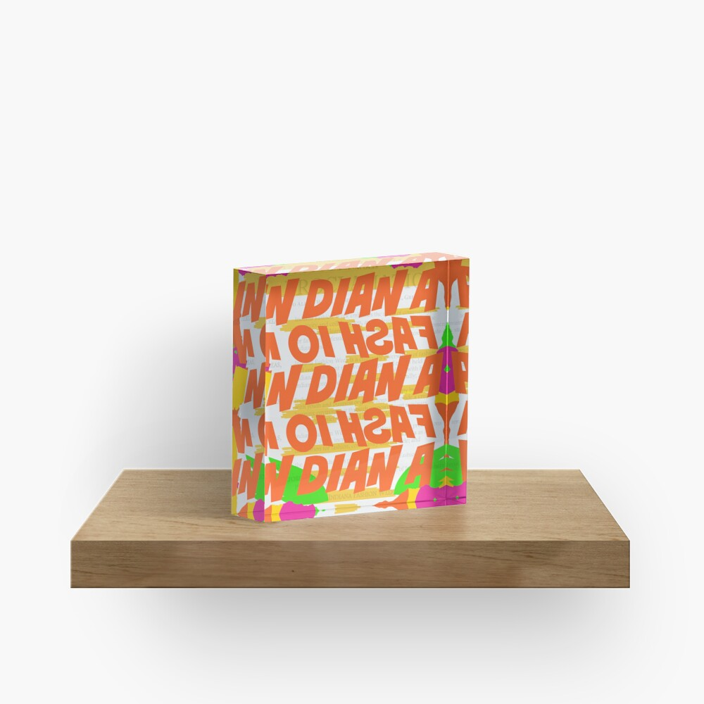 Stephen Sprouse inspired-Letter Print-Words-Day Glow Acrylic Block