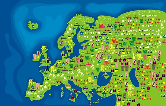 cartoon map of europe by ychty