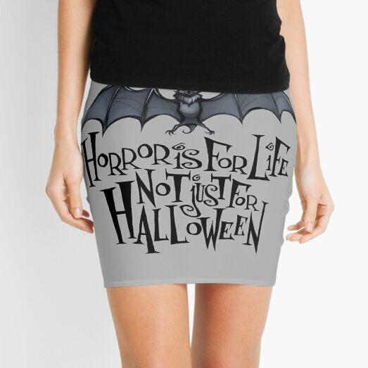 Horror is For Life, Not Just For Halloween - Dark Version (Grey Background) Mini Skirt