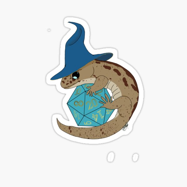 DnD Wizard Lizard- Blue and Cyan Sticker