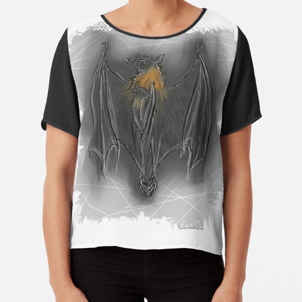 Batzilla- Mother/Baby, holding tight against all odds - by Ewa Oz Chiffon Top