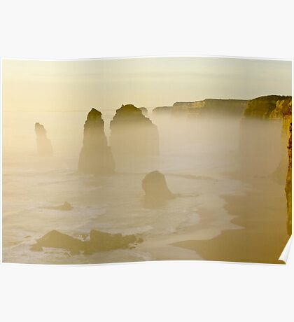 Sunset Through the Sea Mist - Great Ocean Road, Victoria Poster
