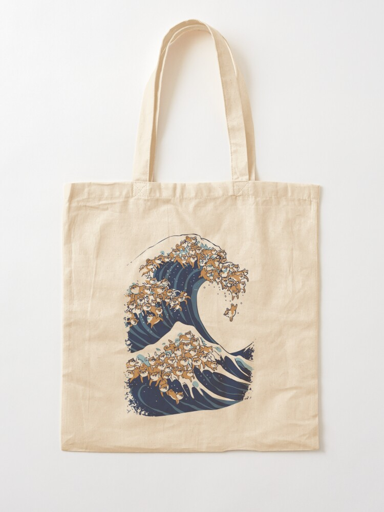 Alternate view of The Great Wave of Shiba Inu Tote Bag
