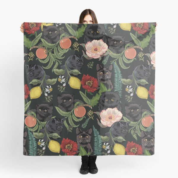 Botanical and Black Cats Scarf