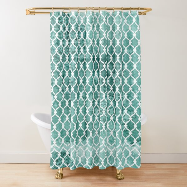 Emerald Trellis Pattern - Green Shower Curtain