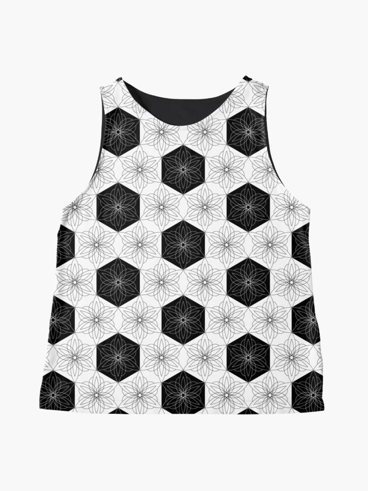 Alternate view of Black and white hexagon starburst flowers Sleeveless Top