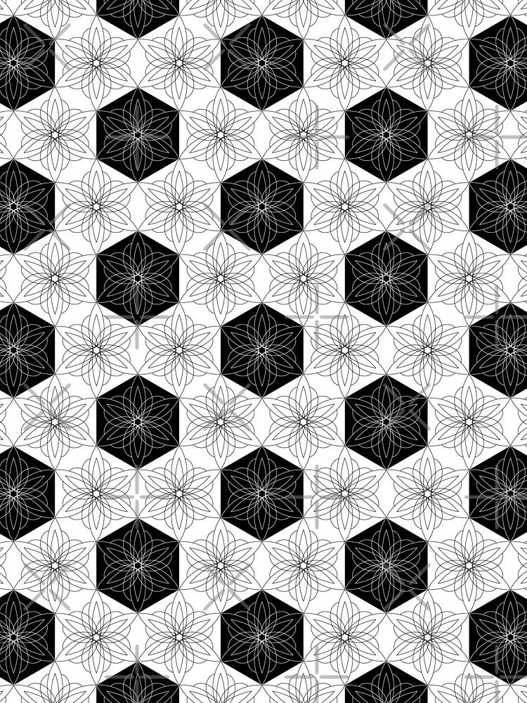 Black and white hexagon starburst flowers by nobelbunt