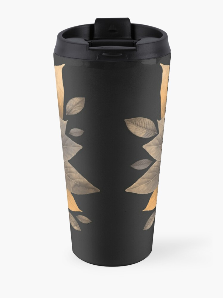 Alternate view of wolf of leaves Travel Mug