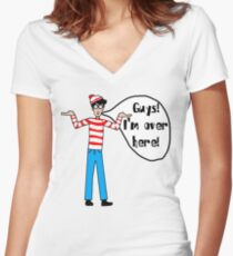 Wally's Here Women's Fitted V-Neck T-Shirt