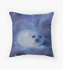 Baby Seal on Ice Throw Pillow