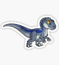 Chibi kawaii grey blue streaked velociraptor Sticker