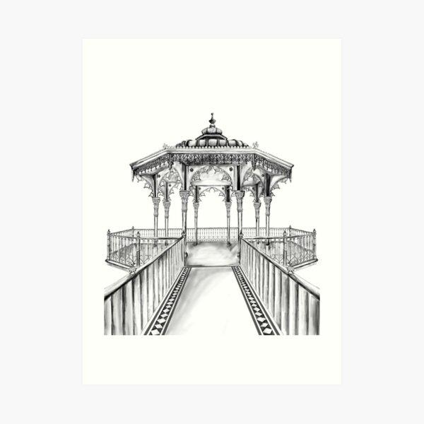 Brighton Bandstand illustration - Brighton beach Art Print