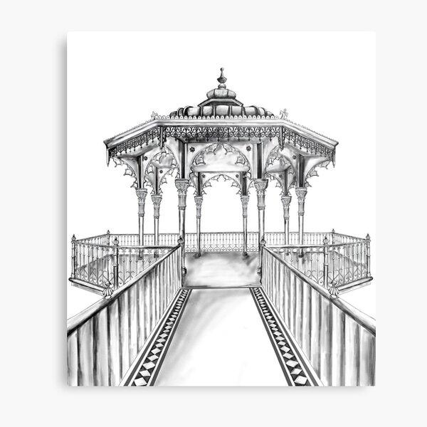 Brighton Bandstand illustration - Brighton beach Metal Print