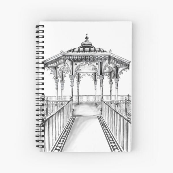 Brighton Bandstand illustration - Brighton beach Spiral Notebook
