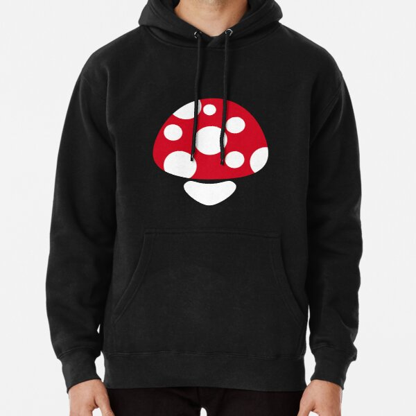 Mushroom in Red and White Polka Dot Pullover Hoodie