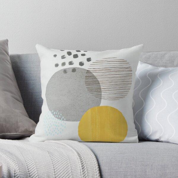 Abstract circles - mustard and grey Throw Pillow