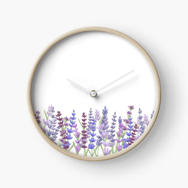 Watercolour painting of lavender - Purple painting Clock