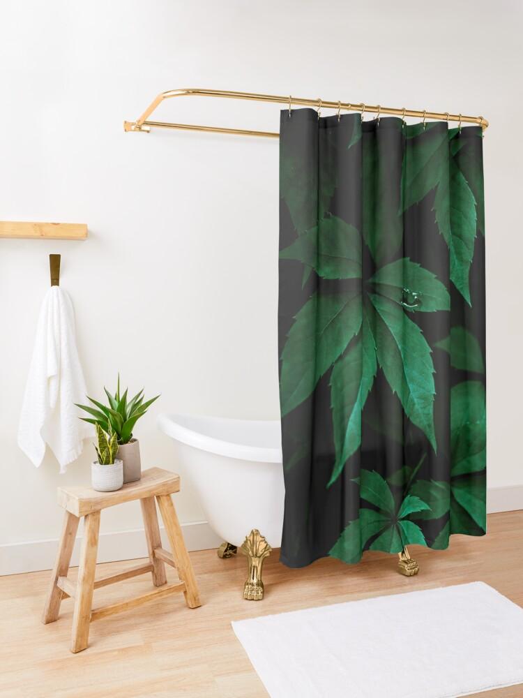 Alternate view of Dark Leaves 7 Shower Curtain