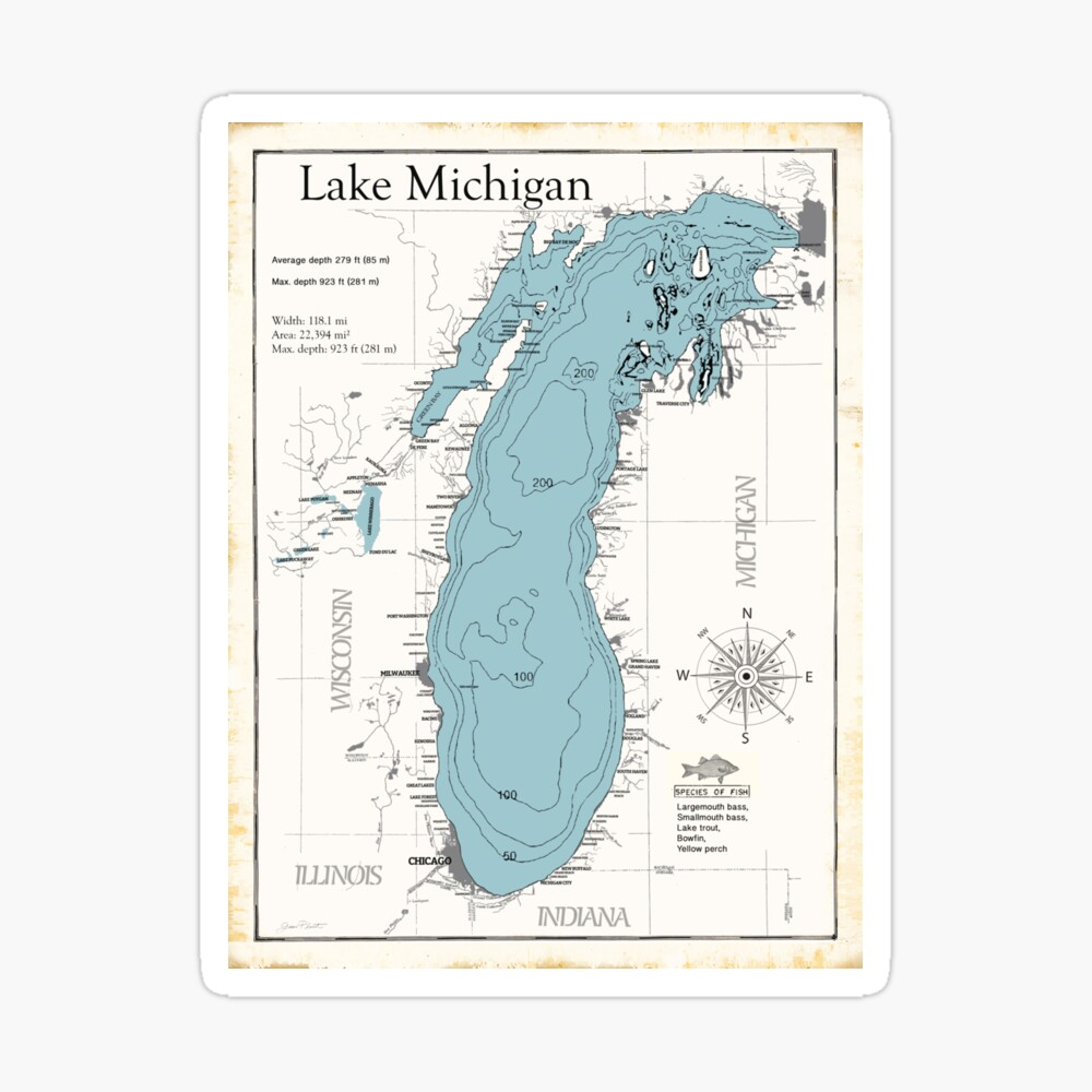 bass lake michigan map Lake Michigan Map Canvas Print By Jeanplout Redbubble bass lake michigan map