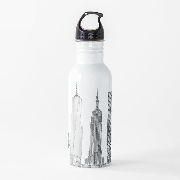 New York Skyline illustration Water Bottle