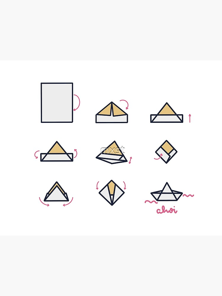 origami boat illustrated instructions on Behance | 1000x750